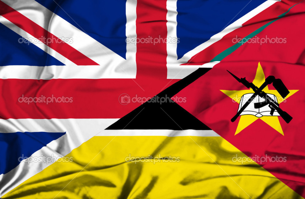 Waving flag of Mozambique and UK